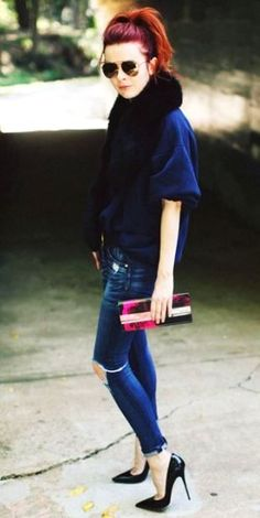 fox collar, distressed denim, pumps and clutch chic