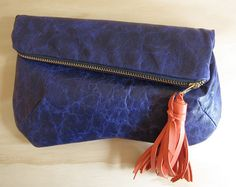 Navy Leather Clutch w/ Coral Leather Tassel
