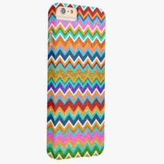 iPhone 6 Plus Cases   Trendy Vibrant Chevron Girly Glitter Photo Print Barely There iPhone 6 Plus Case