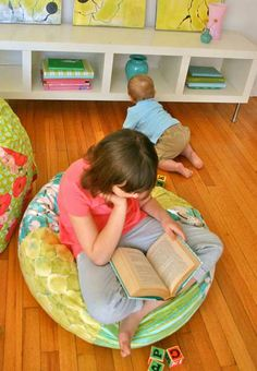 DIY Child Sized Bean Bag Chair by Joanna Armour: Here is the PDF tinyurl.com/...