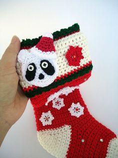 Panda christmas Stocking crochet christmas sock by NikitasStore