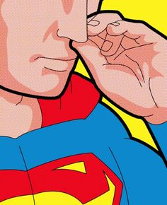 """Secret life of heroes"" of illustrator Greg Guillemin, revealing the small moments of ordinary everyday of superheroes like Superman picking his nose"