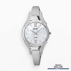 Seiko Solar Stainless Steel Mother-of-Pearl and Crystal Watch - Made with Swarovski Elements - SUP213 - Women