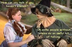 """ people with out brains do an awful lot of talking"" - the writer of the Wizard of Oz was a genius :)"
