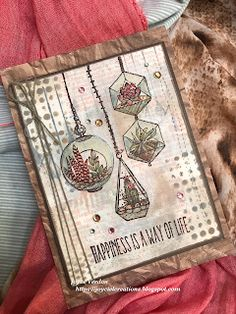 Joyce's Creations: Terrarium Card All Meaning, Image Stamp, Mint Color, Cards For Friends, Distress Ink, Hanging Lights, Watercolor Paper, Terrarium, Unity