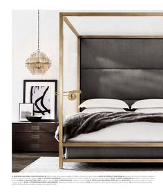 Bedroom inspiration | bronze, gold bed frame | modern bedroom