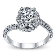 A. Jaffe 14K White Gold Diamond Engagement Ring Setting