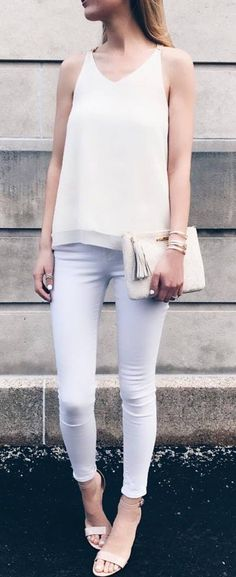 all white everything: top + bag + skinny pants