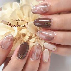 Autumn / Hand / Marble / Medium / Beige Nail art by Sumiyoko Nanaho ☆ nail (Yao city, book - - Asian Nail Art, Asian Nails, Korean Nail Art, Beige Nail Art, Beige Nails, Gel Nails, Nail Polish, Elegant Nail Art, Nagellack Design