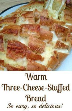 Warm Three-Cheese-Stuffed Bread. So easy to prepare and it tastes so good!