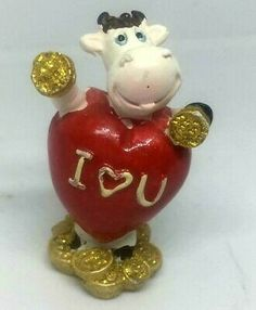 "Find many great new & used options and get the best deals for Houston Harvest Cow Shape Love Heart Carrying Coin Figurine Deco Porcelain 2"" at the best online prices at eBay! Free shipping for many products!"