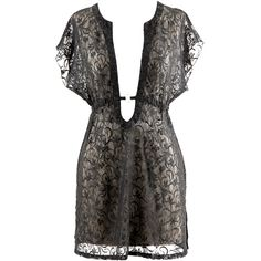 Black Sheer Lace Pull Over Sexy O-Ring Beach Cover-Up (375 ZAR) ❤ liked on Polyvore featuring swimwear, cover-ups, dresses, black, cover ups, sexy cover up, long cover ups, sexy beach wear, sexy swimwear and sexy beach cover up