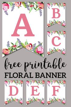 Make a custom flower banner for b… Floral free printable alphabet letter banner. Create a custom floral banner for birthday parties, baby showers or weddings. Free Printable Alphabet Letters, Alphabet Stencils, Floral Banners, Floral Letters, Diy Banner, Make A Banner, Free Banner, Shower Banners, Paper Trail