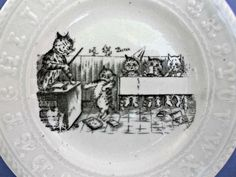 Small Vintage Childs ABC Plate Master Cat Schooling Kittens Mice  offered by rubylane shop Saltymaggie's Treasures