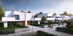 Drugi etap osiedla Marmurowe to trzy nowoczesne budynki w zabudowie bliźniaczej, w których zaprojektowano po cztery niepowtarzalne i komfortowe mieszkania, wyposażone w przestronne tarasy i ogrody. Każdy z apartamentów posiada osobne wejście i wjazd oraz garaż wbudowany w bryłę budynku, dzięki usytuowaniu na wewnętrznej działce z dostępem z dwóch równoległych ulic wewnętrznych. Semi Detached, Detached House, Modern Barn House, Duplex House Design, Futuristic City, Facade House, Home Fashion, Home Projects, Townhouse