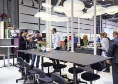 cloud mobiles from the canadian designstudio @molostudio  at Linak´s stand at Stockholm Furniture Fair 2016.  Exhibition furniture, messe møbler, exhibition walls, udstillings vægge, messe stande, exhibition stands