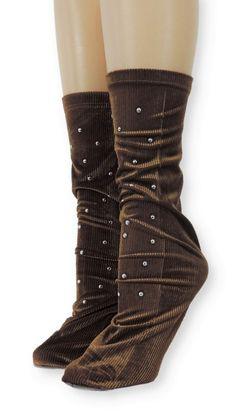 Ribbed Brown Velvet Socks with Beads Velvet Socks, Crew Socks, Comfy, Beads, Brown, Unique, Spandex, Modern, Products