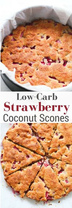 These Low-carb Strawberry Coconut Scones are gluten-free and made with almond flour, shredded coconut and fresh juicy strawberries. (recipes with biscuits) Keto Foods, Healthy Low Carb Recipes, Low Carb Dinner Recipes, Gluten Free Recipes, Diet Recipes, Snacks Recipes, Delicious Recipes, Keto Dinner, Pork Recipes