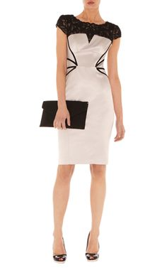 Dresses | Cream Lace embroidery dress | KarenMillen Stores Limited