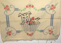 Vintage dogs puppies in a basket embroidery  pillow 30s 40s era design by sweetalicelovesyou on Etsy