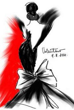 Black & White and RED!!!  Valentino  H: El modisto Valentino aloja en su castillo de las afueras de París, abierto al público, un espectacular legado de 10.000 bocetos, 2.000 cartas y valios
