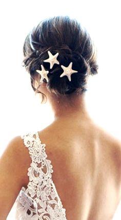 Beach bride's messy bun with starfish pins bridal hair ideas  Toni Kami Wedding Hairstyles ♥ ❶