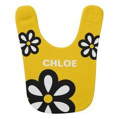 Personalized Modern Daisy Baby Bib - Yellow #baby #bibs