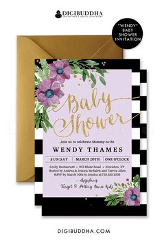 136 best digibuddha baby shower invitations images on pinterest in purple floral baby shower invitation with black and white stripes baby shower invitation with watercolor filmwisefo