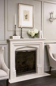 Low profile tudor fireplace.