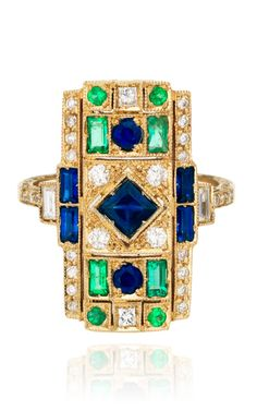 White Gold Ring with White Diamonds, Emeralds And Blue Sapphires by Sabine G for Preorder on Moda Operandi