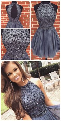 Halter Gray Homecoming Dresses,Sparkly Beaded Bodice Short Prom Dresses,Mini Dress for 2016 Homecoming