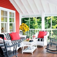 Country porch, shabby chic, Love the bold color for the only wall that faces outside!