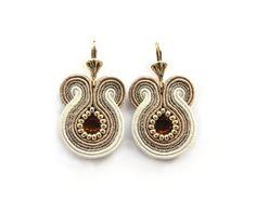Bridal soutache earrings golden winter wedding beige by soStudio, $37.00