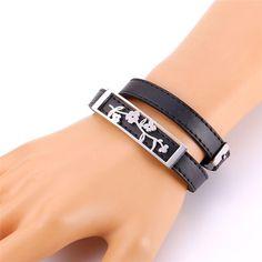 มาดูอัพเดตราคาล่าสุดกันเลย U7 Flower Wrap Leather Bracelet Stainless Steel (Black) (Intl) ซื้อออนไลน์ ชำระเงินได้หลากหลายช่องทาง