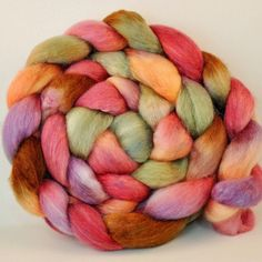 BFL / Silk  Wool Roving Hand Dyed Desert Blooms by clawtreefibers, $19.00