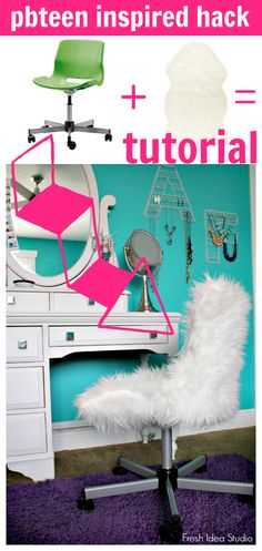 PBteen furilicous chair KnockOff tutorial for you to DIY this hack too. Fresh Idea Studio.com where it's all about how to Fabulously Restyle Everything for Self & Home