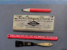 Marion de Man, Mon Crayon Blanc, Olieverf op doek, 30x40 cm, €.425,-