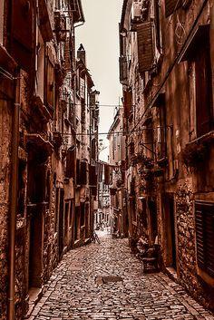 Back alley in Rovinj, Croatia  Beautiful history
