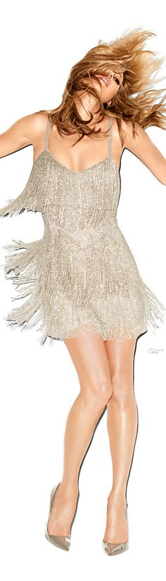 TOPSHOP X Kate Moss 2014 beaded fringe dress. 1920's influence. Reflects the flapper girl style.