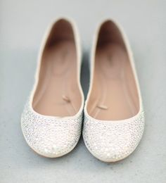 Ballet flats wedding shoes for late reception or getting ready.