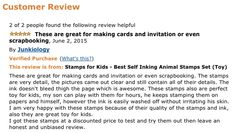 """""""These are great for making cards and invitation or even scrapbooking. The stamps are very detail, the pictures came out clear and still contain all of their details. The ink doesn't bleed thigh the page which is awesome."""" By Junkiology => Check InkZoo here: http://www.amazon.com/Stamps-Kids-Best-Inking-Animal/dp/B00Q2FMYYC/ref=sr_1_2?ie=UTF8&qid=1435230697&sr=8-2&keywords=stamps+for+kids"""