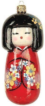 Japanese Koleshi Doll Geisha Girl in Kimono Polish Glass Christmas Ornament All Things Christmas, Christmas Themes, Christmas Holidays, Christmas Decorations, Christmas Print, Christmas Balls, Merry Christmas, Xmas, Blown Glass Christmas Ornaments
