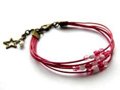 ❇ Bracelet cordons cuir fuchsia et perles de bohème rose et blanc ❇ : Bracelet par emy-bijoux
