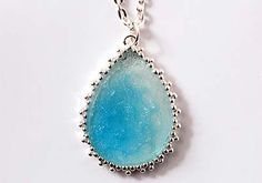 #DIY Jewelry Project - Sea Sparkle Silver & Blue Pendant Necklace from @Plaid Crafts