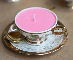 #DIY teacup candle. Cute!