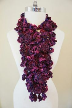 Purple RoseOnie Scarf in a soft bulky by ValerieBaberDesigns