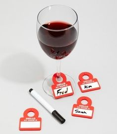 Drink glass name tags. Brilliant to remember whose drink is whose and everyones names. Plus would cut down on wasting clean glasses $12.00 for set of 6 hostess-with-the-mostest food-for-thought food-for-thought