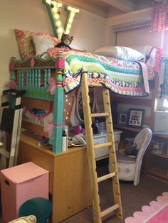 Ways To Decorate A Dorm Room: Loft The Bed On A Desk And Window Ledge Part 39