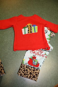 Custom made Christmas PJs for My Twinn Doll sewn by me!  Pattern from beachbabydoll.com for clothes.  Applique pattern from Cherry Stitch.