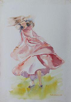 Buy Ecstasy, watercolor, Watercolor by Geeta Biswas on Artfinder. #stylewatercolor #art #painting #fashion #ecstasy #happy #woman #originalart #contemporaryart #artforsale #geetabiswas #style